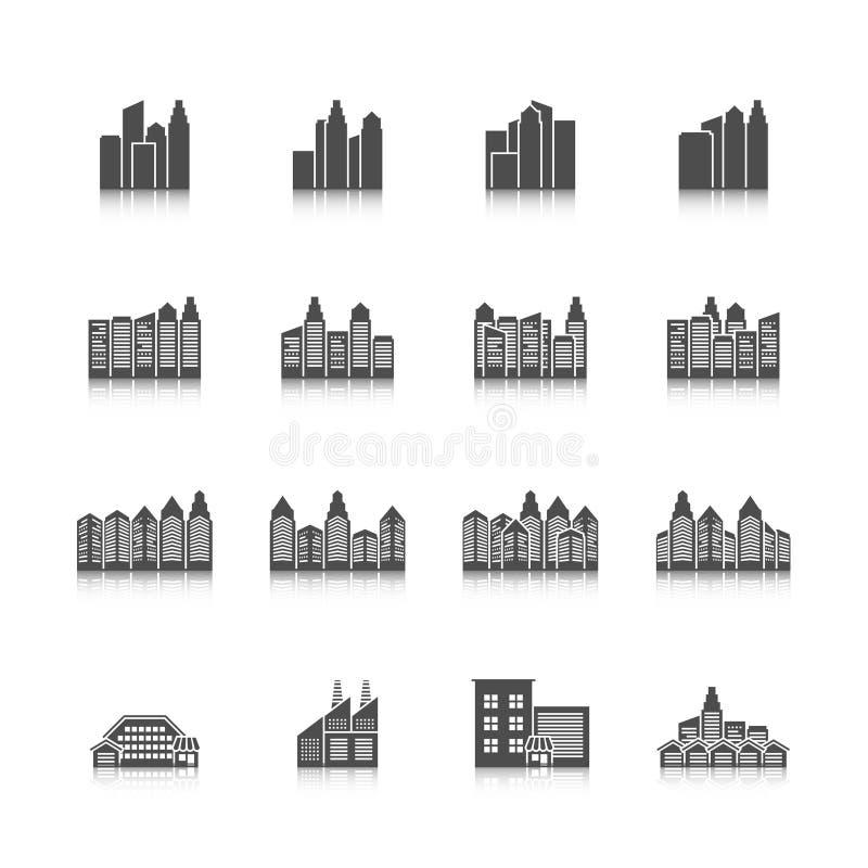 Stadtbildikonen eingestellt vektor abbildung