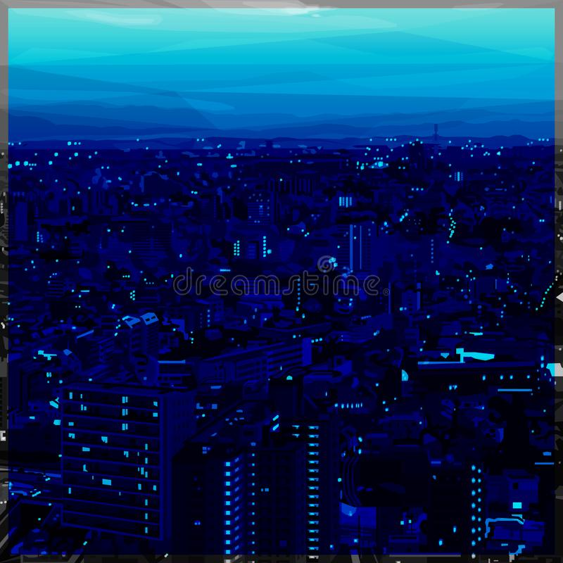 Stadtbildschatten des blauen niedrigen Polydesigns lizenzfreies stockbild