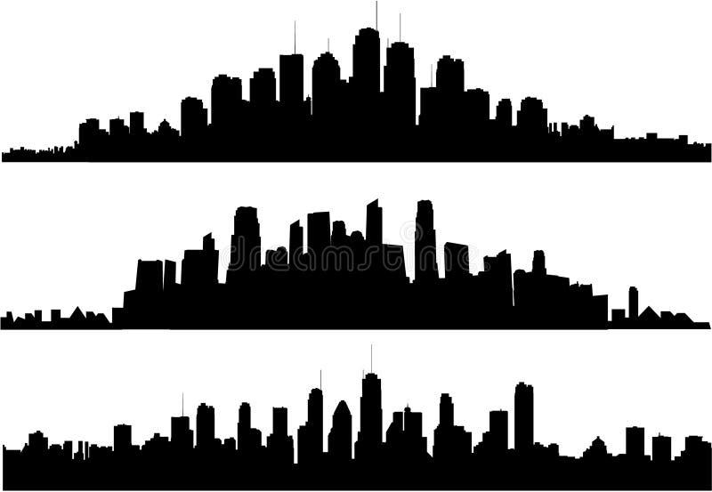 Stadtbildschattenbild stock abbildung