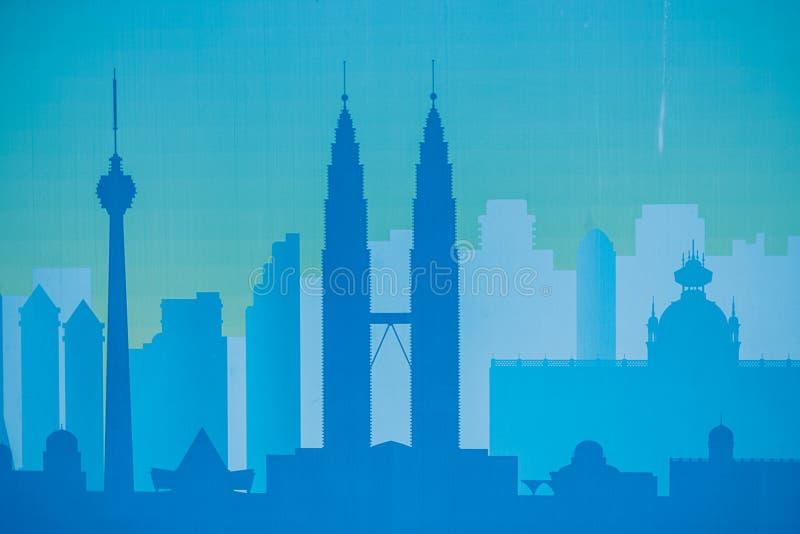 Stadtbildschwarze Architekturgebäudeikone entwerfen Sie flache Art des Schattenbildes auf blauer Hintergrund Illustration lizenzfreie stockfotos