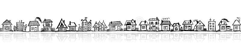 Stadtbildskizze, nahtlose Tapete vektor abbildung