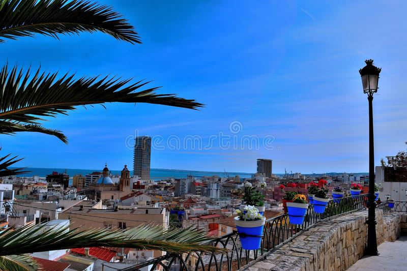 Stadtblau Alicante stockfotografie