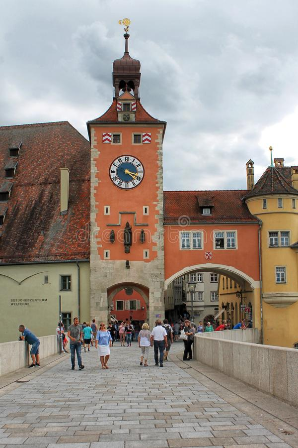 Stadtbrücke in Regensburg Bayern, Deutschland stockbilder