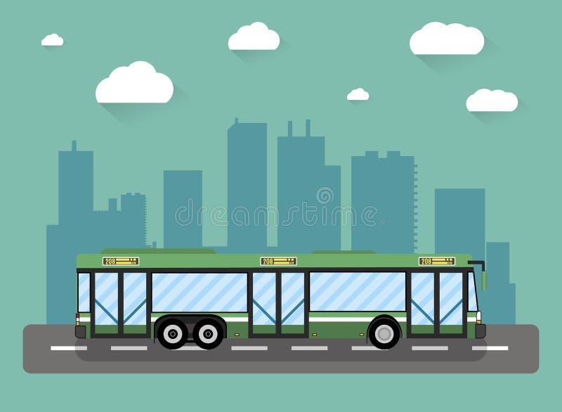 Stadtbus vor Häusern vektor abbildung