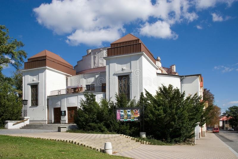 Stadteater, historisk stadmitt av staden Kladno, centrala Boh fotografering för bildbyråer
