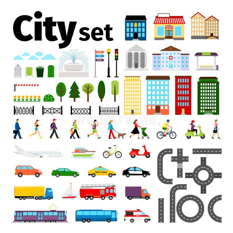 Stadtelemente lokalisiert auf weißem Hintergrund Ortsverkehr und Straßen, Gebäudeleuteleben-Vektorillustration vektor abbildung