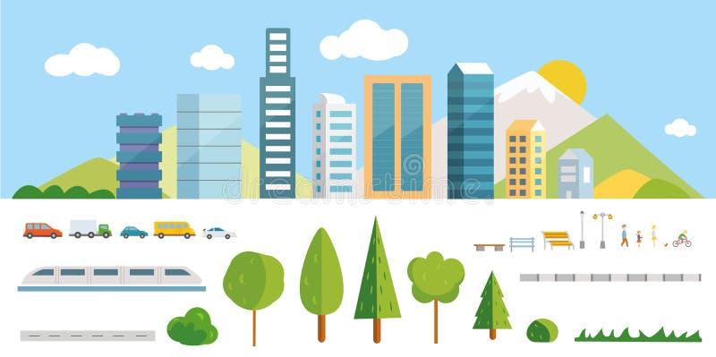 Stadterbauer-Vektorillustrationen Elemente für das Herstellen Ihrer eigenen Stadt vektor abbildung