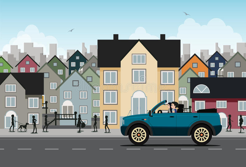Stadtfahren stock abbildung