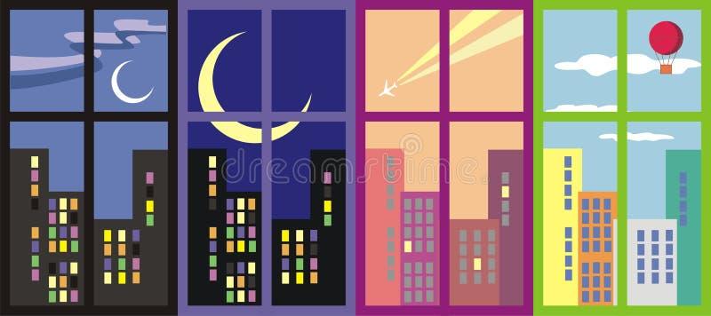 Stadtfenster in der unterschiedlichen Uhrzeit lizenzfreie stockbilder