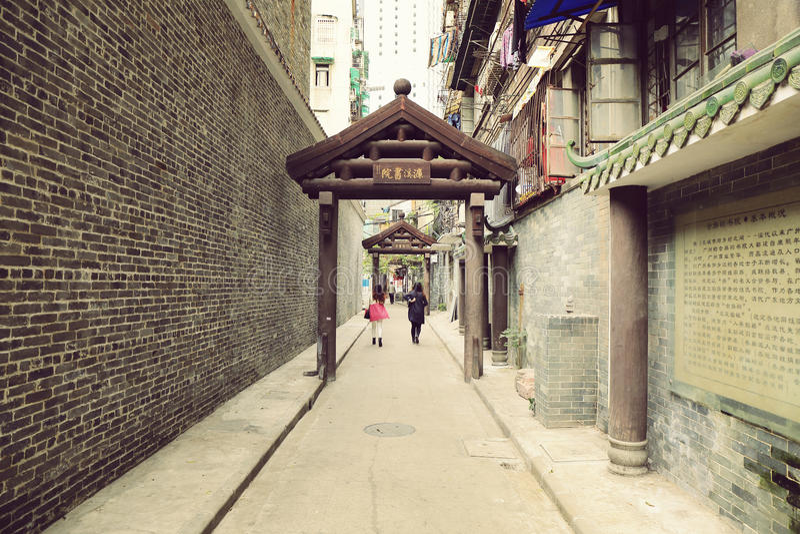 Stadtgasse, Durchgang in China-, kleiner und schmalerstraße, kleine Straße, städtische Landschaftsstraßenansicht von China stockbild