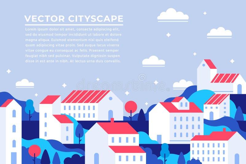 Stadtgebäude, die Seite landen Stadtwohnungsfahne, errichtendes Wohnungsstadtbild und moderner townscape Panoramavektor lizenzfreie abbildung