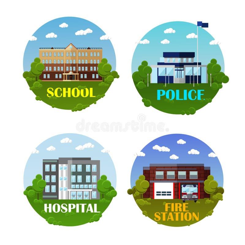 Stadtgebäude-Vektorikone stellte in flache Art ein Gestaltungselemente und Embleme Schule, Polizeidienststelle, Krankenhaus, Feue lizenzfreie abbildung
