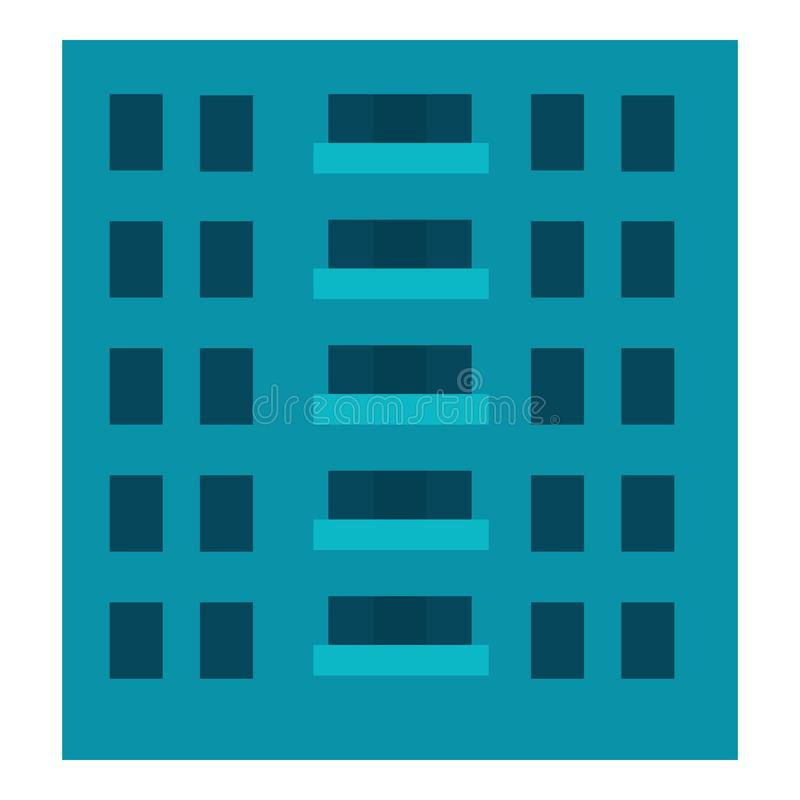Stadtgebäudeikone, flache Art vektor abbildung