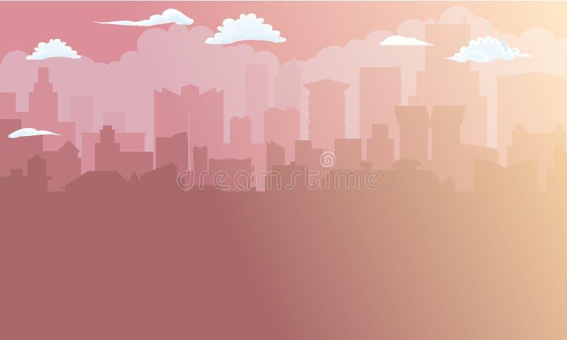 Stadtgebäudeschattenbild im Morgensonnenlicht Abstrakte Geschäftsabbildung Auch im corel abgehobenen Betrag lizenzfreie abbildung