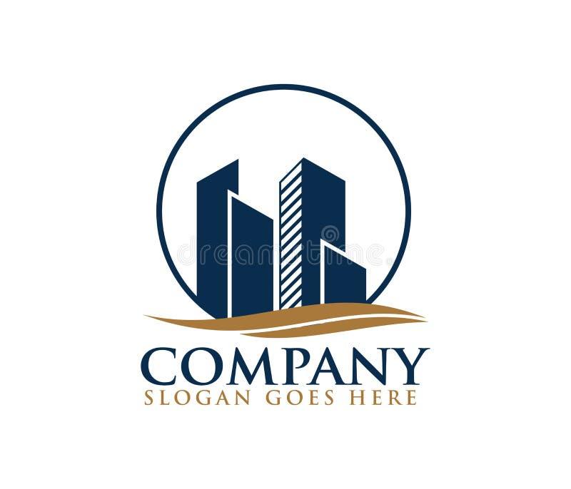 Stadtgebäudeskylinehauswohnungs-Logodesign stock abbildung
