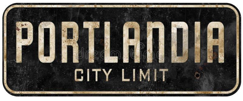 Stadtgrenzzeichenschmutzweinlese Portlands Oregon Portlandia lizenzfreies stockbild