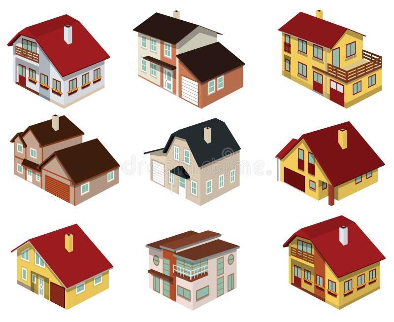 Stadthäuser in der Perspektive lizenzfreie abbildung