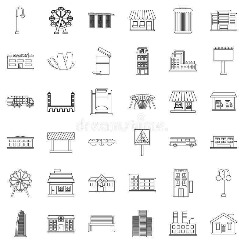 Stadtikonen eingestellt, Entwurfsart lizenzfreie abbildung