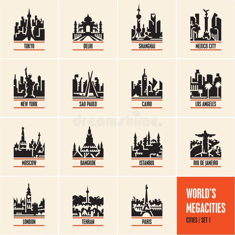 Stadtikonen, Stadtbild, Stadtskyline, Stadtvektorikonen stellten, Millionenstädte ein, stock abbildung