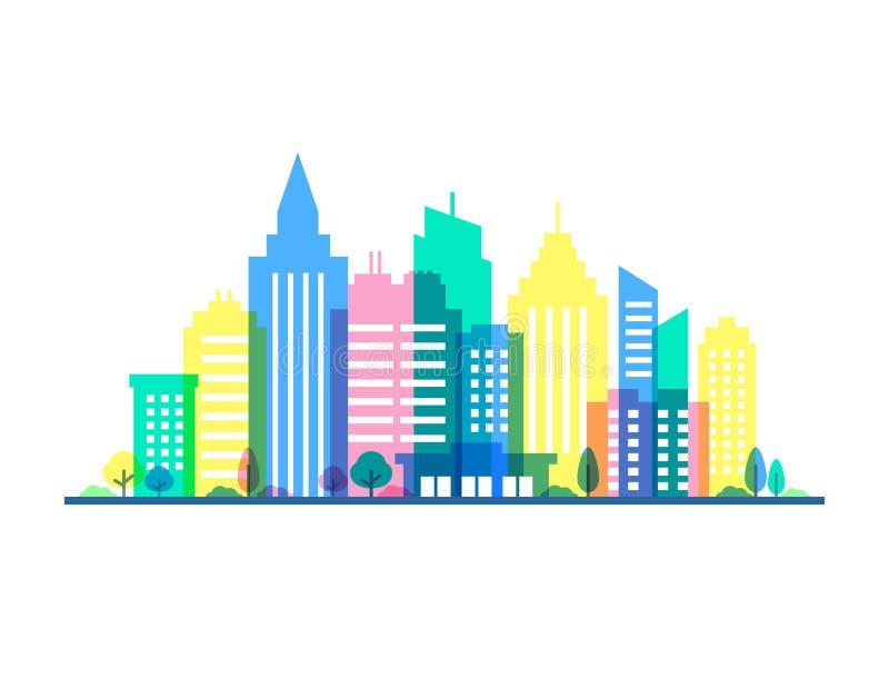 Stadtillustration mit schlagkräftigen Pastellfarben Flache Artschattenbilder von Gebäuden auf weißem Hintergrund cityscape vektor abbildung