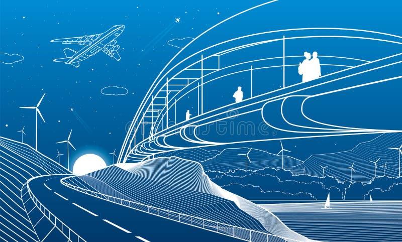 Stadtinfrastruktur industriell und Landschaftsillustration Leute gehen über die Flussbrücke Automobilstra?e in den Bergen whit lizenzfreie abbildung