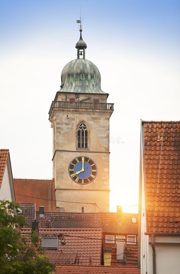 Stadtkirche Sankt Laurentius Church em Nuertingen, Alemanha fotografia de stock royalty free