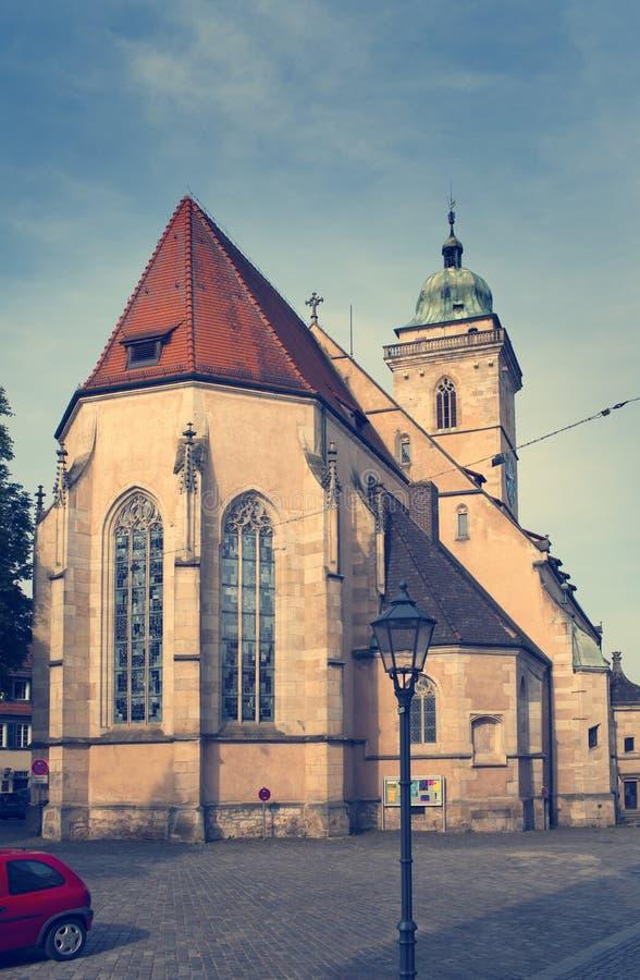 Stadtkirche Sankt Laurentius kościół w Nuertingen, Niemcy, zdjęcia royalty free