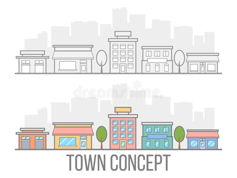 Stadtkonzeptsatz Straße mit Hotel, Garage, Butike und Café Lineares Design Kleine Stadt in der flachen Art lokalisiert auf weißem lizenzfreie abbildung