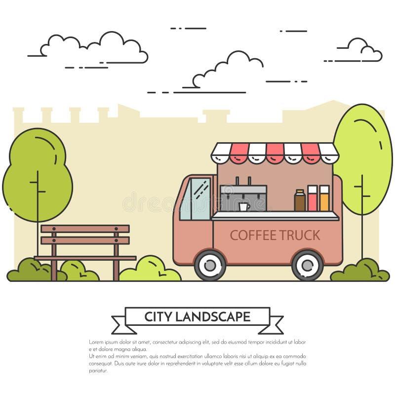 Stadtlandschaft mit Bank, Kaffee-LKW in Park Linie Kunst lizenzfreie abbildung