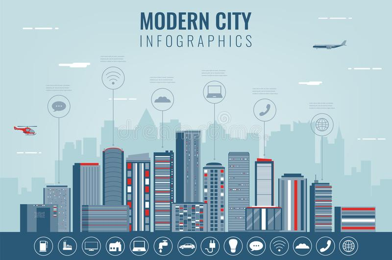 Stadtlandschaft mit infographic Elementen Moderne Stadt Intelligente Stadt Konzeptwebsiteschablone Vektor stock abbildung