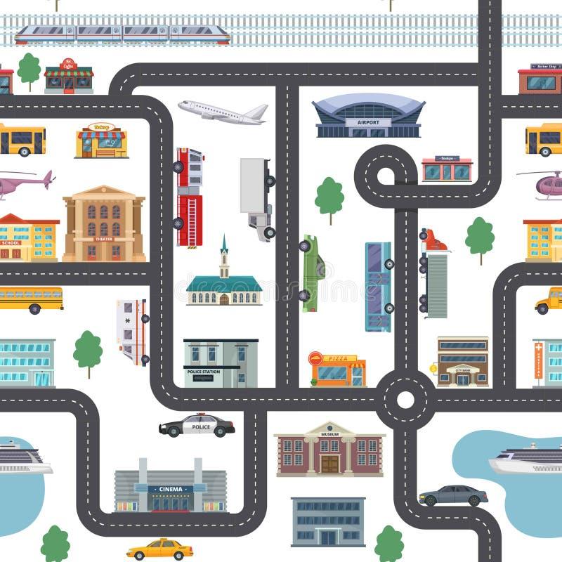 Stadtlandschaft mit unterschiedlichen Shops, Gebäuden, Büros und Transport Nahtloser Stadtplan des Vektors in der Karikaturart vektor abbildung