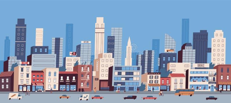 Stadtlandschaft oder Stadtbild mit den Geb?uden, Wolkenkratzern und Transport, die entlang Stra?e reiten Gro?stadtleben Stra?enan lizenzfreie abbildung
