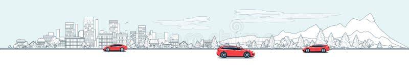 Stadtlandschafts-Panorama-Straßen-Straße mit Autos und Stadt-Natur B stock abbildung