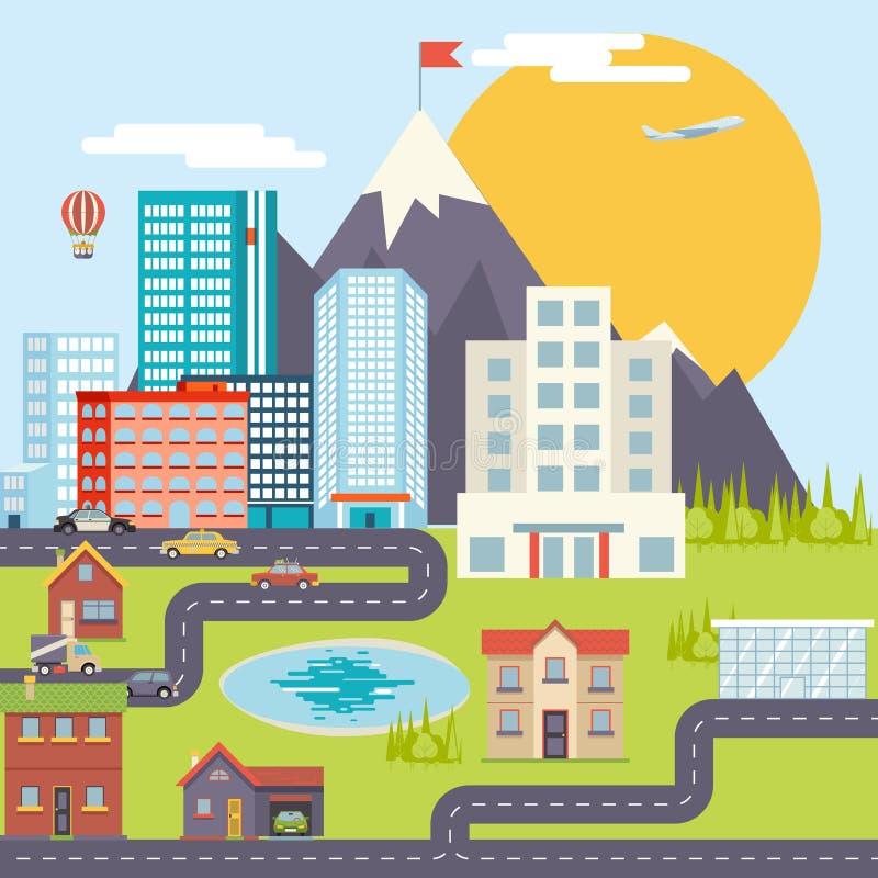 Stadtlandschafts-Stadt-Real Estate-Gebirgswald vektor abbildung