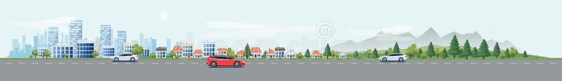 Stadtlandschafts-Straßen-Straße mit Autos und Stadt-Natur-Hintergrund stock abbildung