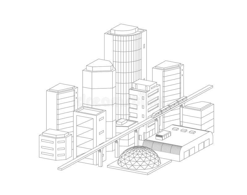 Stadtlandschaftszeichnung Moderne Architektur, Gebäude Zug, der die helle Schienen-U-Bahn kreuzt Graue Linien Entwurfskontur vektor abbildung