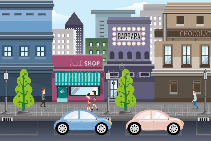 Stadtleben stock abbildung