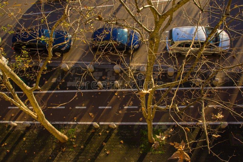 Stadtleben im Wintersonnenlicht, Mailand, Italien lizenzfreies stockfoto