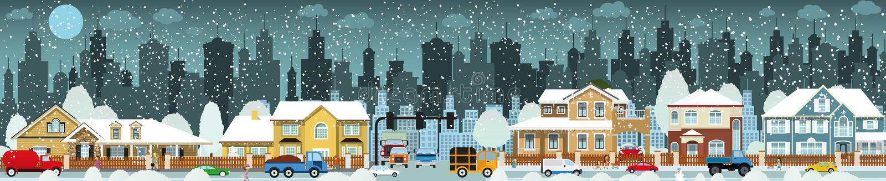 Stadtleben (Winter) stock abbildung