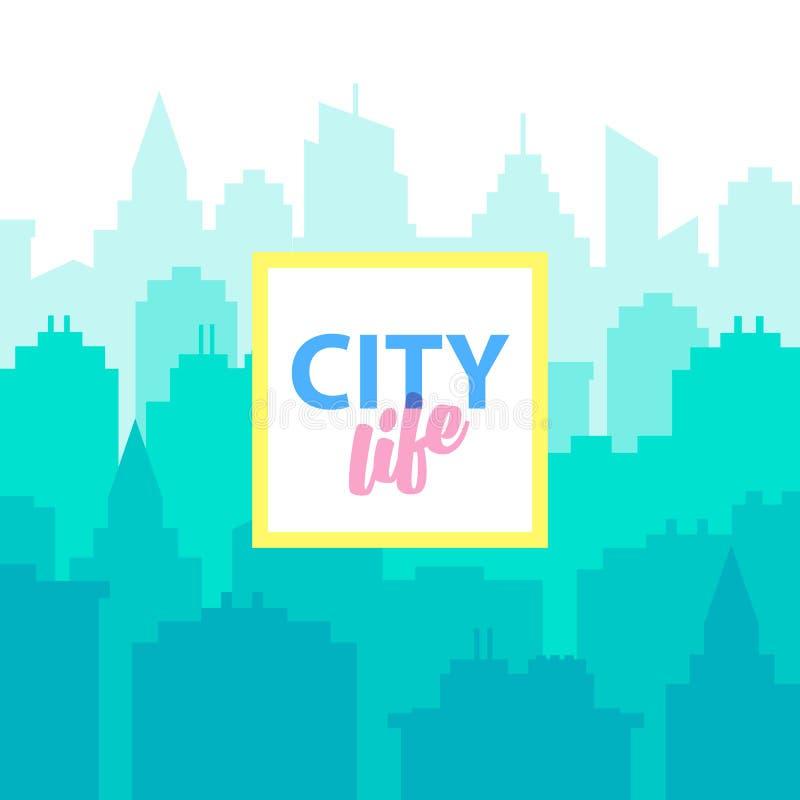 Stadtlebenhintergrund Plakatschablone mit Stadtlandschaft Blaues Pastellstadtschattenbild in der flachen Art cityscape lizenzfreie abbildung