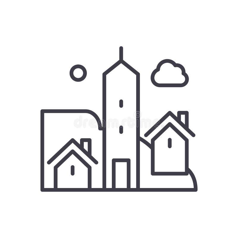 Stadtlebenschwarzikonenkonzept Flaches Vektorsymbol des Stadtlebens, Zeichen, Illustration stock abbildung
