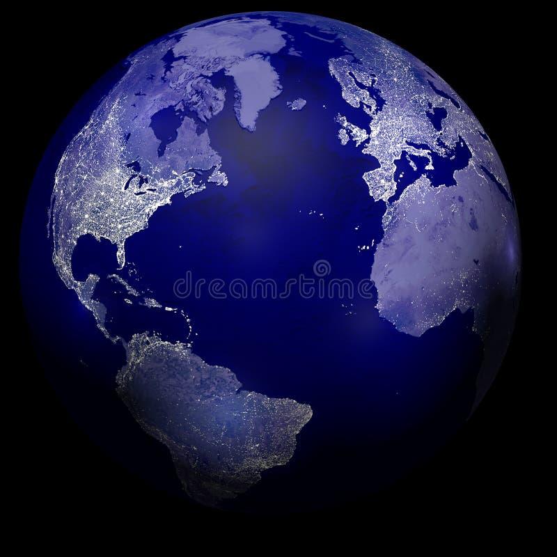 Stadtlichter auf Planetenerde stock abbildung