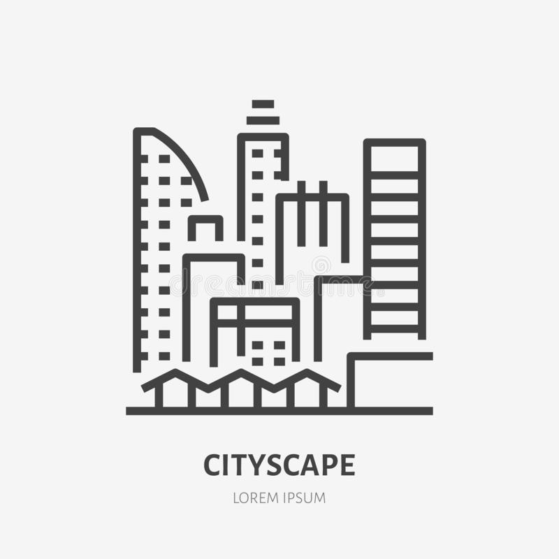 Stadtlinie flache lineare Ikone Vector Zeichen von städtischem Stadtbild, im Stadtzentrum gelegene Gebäude, Wolkenkratzerentwurfs lizenzfreie abbildung