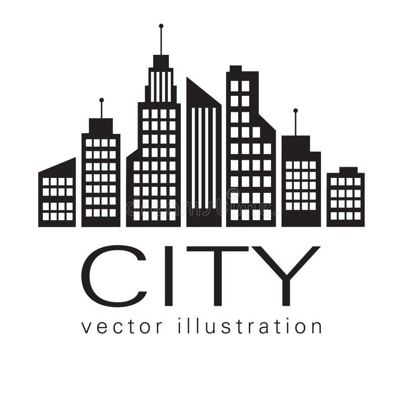 Stadtlogo, Vektorgebäude-Netzikone stock abbildung