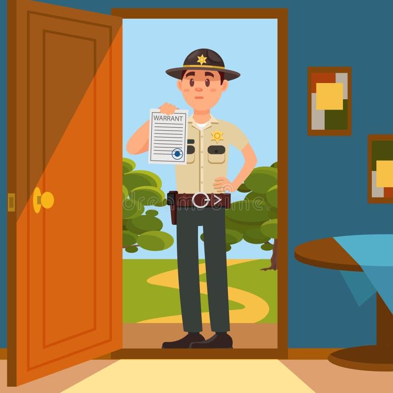 Stadtmännlicher Sheriff-Polizeibeamtecharakter in der offiziellen Uniform, die auf der Türstufe des Hauses steht und Ermächtigung lizenzfreie abbildung