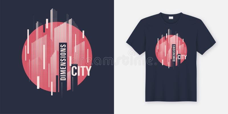 Stadtmaße Vektort-shirt Zusammenfassung geometrisches dynamisches desig vektor abbildung