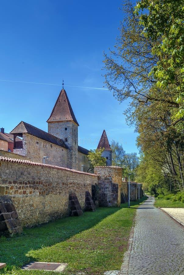 Stadtmauer in Amberg, Deutschland lizenzfreies stockfoto
