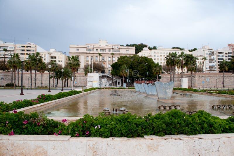 Stadtmauer von Cartagena Region Murcia, Spanien lizenzfreie stockfotos