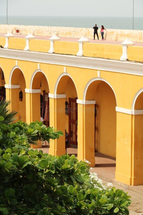 Stadtmauern in Cartagena, Kolumbien lizenzfreies stockfoto