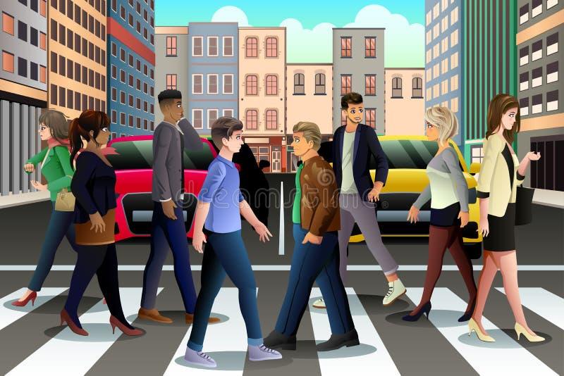 Stadtmenschen, welche die Straße während der Hauptverkehrszeit kreuzen stock abbildung